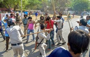 Police lathicharge protestors during the nationwide Bharat Bandh called by Dalit groups on April 2.