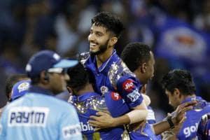 Mumbai Indians player Mayank Markande celebrates after Mahendra Singh Dhoni
