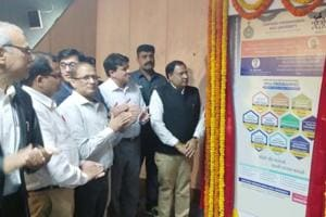 Haryana industries minister Vipul Goel (extreme right) launched 10 new courses under Industry Integrated Dual Education Model at a ceremony organised at HSIIDC in Udyog Vihar, Gurugram, on Monday.