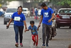 Mumbai, India - April 8, 2018: Participants at Caus-a-thon organised by Khushi Pediatric Therapy Centre to raise awareness about autism spectrum disorder at Bandra in Mumbai, India, on Sunday, April 8, 2018. (Photo by Satyabrata Tripathy/Hindustan Times)