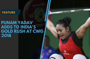 India's Punam Yadav won the country's fifth gold medal at the 2018...