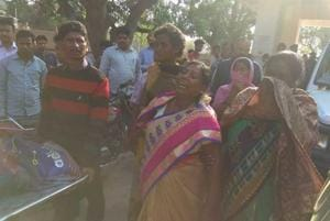 Grieving relatives of the victims outside Simdega Sadar hospital on Tuesday.