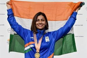 Get highlights from 2018 Commonwealth Games in Gold Coast here. Indian shooter Heena Sidhu holds the tricolour during the medal ceremony after winning women's 25m pistol gold at the 2018 Commonwealth Games in Gold Coast on Tuesday.