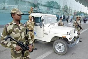 CISF personnel stand guard outside Sri Guru Ram Das Jee International Airport in Amritsar.