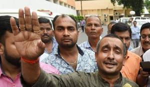 BJP MLA from Unnao Kuldip Singh Sengar speaks to the media outside Chief Minister's office in Lucknow. He is an accused in the Unnao rape case.