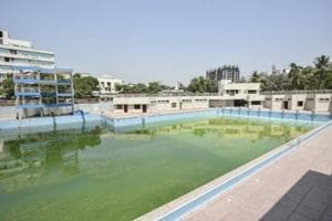 General Arun Kumar Vaidya swimming pool in Chembur on Tuesday, half-filled with dirty water.