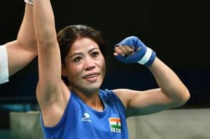 MCMary Kom beat Anusha Dilrukshi Koddithuwak in the semi-finals of the women's 48 kg boxing event in the 2018 Commonwealth Games.
