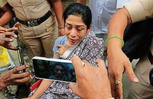 Indrani Mukerjea after being discharged from JJ Hospital in Mumbai.