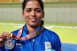2018 Commonwealth Games: Tejaswini Sawant bags silver in women's 50m...