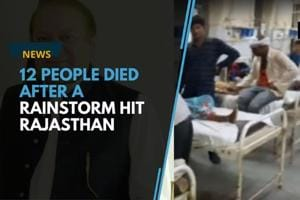At least 12 people died in Rajasthan after a rainstorm hit the region...