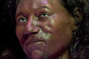 A full face reconstruction model made from the skull of a 10,000 year old man, known as 'Cheddar Man', Britain's oldest complete skeleton is pictured during a press preview at the National History Museum in London on February 6, 2018