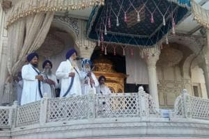 Akal Takht jathedar Giani Gurbachan Singh reading the decision of the Sikh clergy in Amritsar on Thursday.
