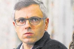 Former Jammu and Kashmir chief minister Omar Abdullah looks on during a press conference in Srinagar.