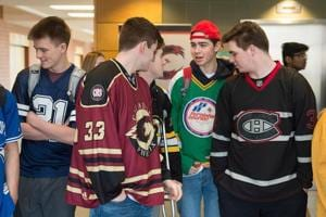 Students at Citadel High School wear sports jerseys to honor the victims of the Humboldt Broncos hockey team in Halifax on Thursday, April 12. A bus carrying the hockey team crashed into a truck killing several and injuring others last Friday.