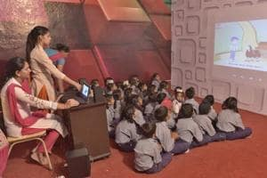 Students in a smart classroom at Dholan village in Ludhiana on Thursday.