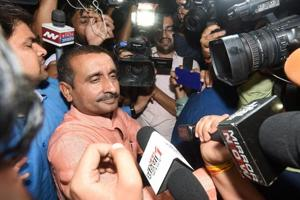 BJP MLA Kuldeep Singh Sengar outside the office of the Senior Superintendent of Police in Lucknow, on Wednesday.