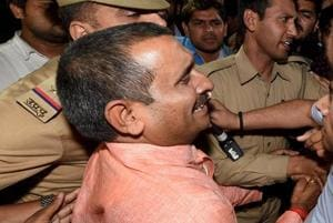 BJP MLA from Unnao Kuldip Singh Sengar, accused in a rape case, out side of the office of the Senior Superintendent of Police in Lucknow on Wednesday night.