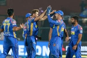 Ben Laughlin celebrates the wicket of Glenn Maxwell during match six of the 2018 Indian Premier League 2018 (IPL 2018) between Rajasthan Royals and Delhi Daredevils at the The Sawai Mansingh Stadium in Jaipur. Get full cricket score of IPL2018 match between Rajasthan Royals and Delhi Daredevils at Sawai Mansingh Stadium in Jaipur, here.
