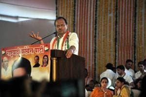 Ajit Pawar during NCP's halla bol rally in Warje in Pune on Wednesday.