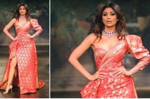 Shilpa Shetty Kundra walking the ramp at India Couture Week 2017 in a Monisha Jaising creation. (IANS File Photo)