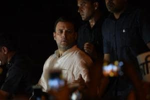 Rahul Gandhi addresses media at the midnight candlelight march near India Gate, carried out to protest crimes against women, in New Delhi on Thursday night.