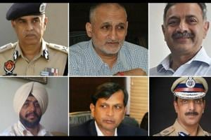 Top: Suresh Arora, DGP, Punjab police chief (left); Harpreet Sidhu, ADGP, special task force (centre); S Chattopadhyaya, DGP, human resource development (right); and bottom: Raj Jit Singh Hundal, senior superintendent of police, Moga (left); Dinkar Gupta, DGP, intelligence (centre) and Mohd Mustafa, DGP, human rights commission.
