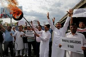 Activists shout slogans during a protest in support of various demands, including deportation of Rohingyas and Bangladeshi nationals from Jammu, and a CBI probe into the rape and murder of a girl in Kathua.