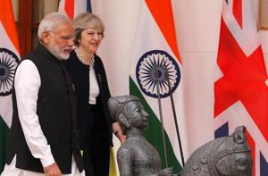 Prime Minister Narendra Modi and his British counterpart Theresa May ahead of their meeting in New Delhi in November 2016.
