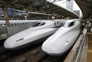 A 2014 file photo of the Shinkansen high-speed train in Tokyo. India and Japan signed a deal for a high-speed train to link Mumbai with Ahmadabad and will cut travel time from eight hours to two.