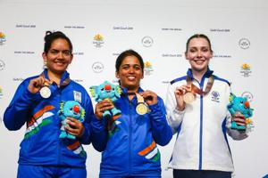 Get highlights of 2018 Commonwealth Games in Gold Coast here. Indian shooter Tejaswini Sawant (C) won gold, Anjum Moudgil (L) silver and Scotland