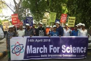 Scientists and scholars take part in March for Science protest in New Delhi on Saturday.