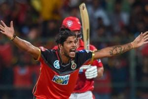 Royal Challengers Bangalore Umesh Yadav successfully appeals for the LBW for wicket of Aaron Finch of Kings XI Punjab during the IPL 2018 match at Chinnaswamy Stadium in Bengaluru on Friday.