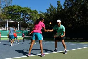 Meraki Sport & Entertainment offers cardio tennis, where each session involves a mix of short runs, chases and racquet play.