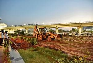 The Haryana Urban Development Authority (Huda) has started the process of transfer of the land in question to the NHAI.