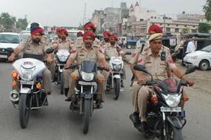 Police patrolling around Phagwara on Monday.