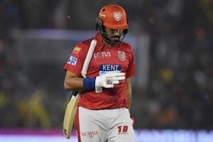 Kings XI Punjab's Yuvraj Singh walks back to the pavilion after his dismissal during the 2018 Indian Premier League (IPL 2018) match vs Chennai Super Kings at the Punjab Cricket Association Stadium in Mohali on April 15, 2018.