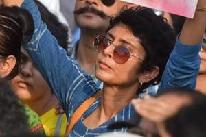 Kiran Rao, film producer and actor Aamir Khan's wife, takes part in a protest demanding justice for the victims of Kathua and Unnao rape cases in Mumbai.