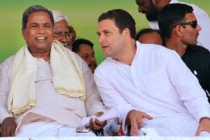 Congress president Rahul Gandhi and Karnataka CM Siddaramaiah during the Janashirvad yatra in Belgaum district in Karnataka.