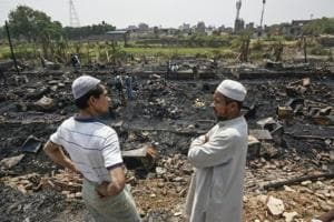 Fire burns down Rohingya refugee camp in Delhi's Kalindi Kunj