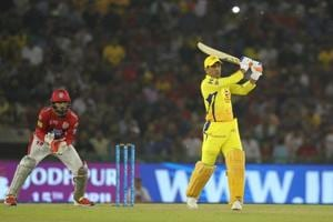 MS Dhoni in action during match twelve of the 2018 Indian Premier League 2018 (IPL 2018) between Kings XI Punjab and Chennai Super Kings at the Punjab Cricket Association IS Bindra Stadium in Mohali on Sunday.