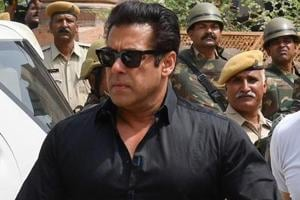 Actor Salman Khan arrives at a court to hear the verdict in the long-running wildlife poaching case against him in Jodhpur on April 5, 2018.