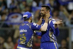 Krunal Pandya celebrates after taking the wicket of Corey Anderson during match fourteen of the 2018 Indian Premier League 2018 (IPL 2018) between Mumbai Indians and Royal Challengers Bangalore at the Wankhede Stadium in Mumbai. Get full cricket score of Mumbai Indians and Royal Challengers Bangalore, IPL 2018, at the Wankhede stadium here