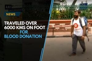 A 33-year-old man, Kiran Verma, traveled over 6,000 kms on foot to...