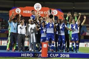 Bengaluru FC players celebrate with the Super Cup after beating East Bengal in the final on Friday.