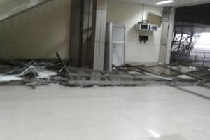 The arrival area, ceiling of the immigration area and the front arrival gate were hit by the strong gusts of wind.