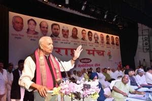 Former Union minister Yashwant Sinha speaks at an event in Patna on Saturday.
