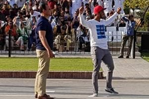 Pakistan cricketer Hasan Ali's 'wicket celebration' at Wagah border...