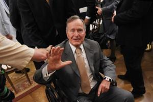 Former US President George HW Bush hospitalized day after wife...