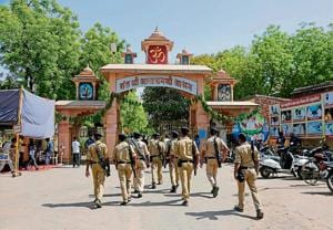 Police personnel in front of Asaram's ashram in Ahmedabad on Wednesday.