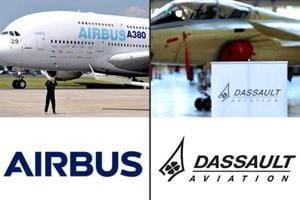 A combination of photos of Airbus and Dassault that signed an agreement to cooperate on Europe's Future Air Combat System.